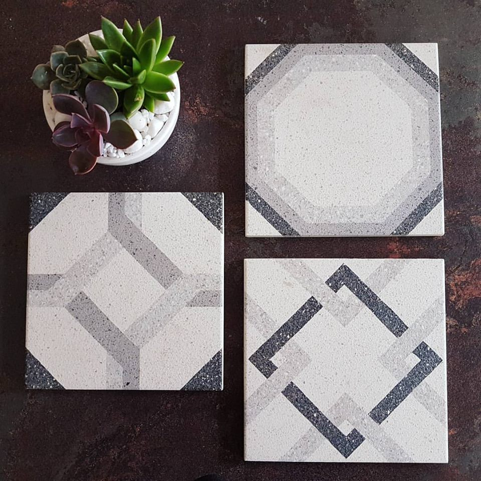 Geometry is key with these easy-care terrazzo-look porcelain tiles