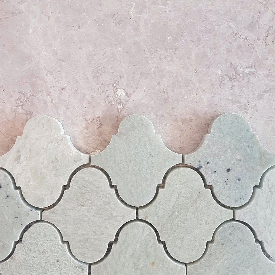 Classic makes a comeback! The arabesque mosaic is on trend and this Verde Cristallo marble makes it truly timeless, particularly alongside travertine.