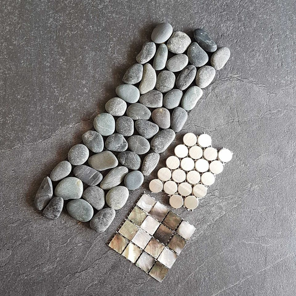All about the natural mosaics! River stones, limestone penny rounds, and pretty little mother of pearl.